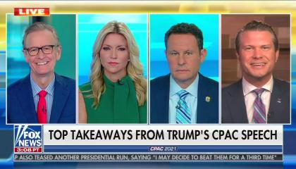 """Fox & Friends (Weekend) co-hosts Steve Doocy, Ainsley Earhardt, Brian Kilmeade, and Pete Hegseth in 4 separate boxes. Doocy and Hegseth are smiling mid-speech. Chyron reads """"Top takeaways from Trump's CPAC speech"""""""