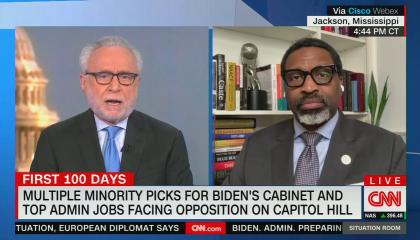 "chyron reads, ""MULTIPLE MINORITY PICKS FOR BIDEN'S CABINET AND TOP ADMIN JOBS FACING OPPOSITION ON CAPITOL HILL"""