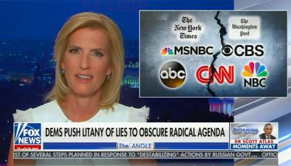 chyron reads: Dems push litany of lies to obscure radical agenda