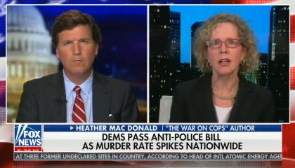 """chyron reads, """"DEMS PASS ANTI-POLICE BILL AS MURDER RATE SPIKES NATIONWIDE"""""""