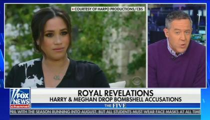 footage of Meghan Markle interview; still of Greg Gutfeld; chyron: Royal Revelations, Harry & Meghan drop bombshell accusations
