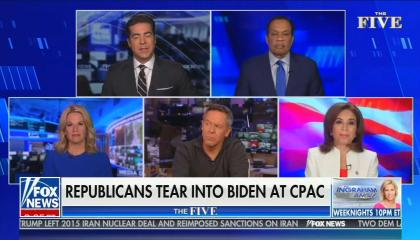 "The Five cohosts are on screen, with Jesse Watters speaking and using his hands; chyron reads: ""Border crisis intensifies as migrant levels surge"""