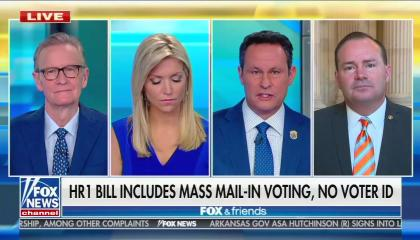 "Fox & Friends hosts Steve Doocy, Ainsley Earhardt, and Brian Kilmeade -- and Utah Sen. Mike Lee (R) -- appearing on Fox & Friends in separate boxes. Chyron reads ""HR 1 bill includes mass mail-in voting, no voter ID"""