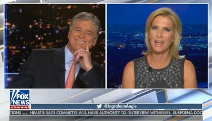 Sean Hannity laughs after Laura Ingraham says that Biden's speech reminded her of a funeral