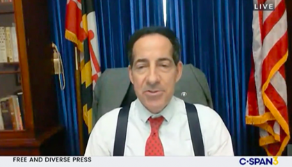 """Maryland Democratic Rep. Jamie Raskin appearing via webcam for a House hearing. CSPAN's chyron reads """"Free And Diverse Press"""""""