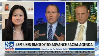 "Panel talking; Chyron reads: ""Left uses tragedy to advance racial agenda"""