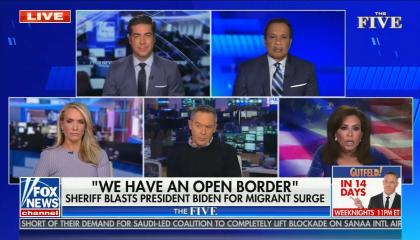 "still of Jesse Watters, Juan Williams, Dana Perino, Greg Gutfeld, Jeanine Pirro; chyron: ""We have an open border"" Sheriff blasts President Biden for migrant surge"