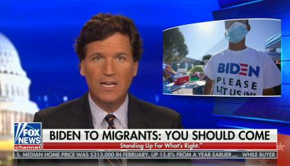 "chyron reads: Biden to migrants ""You should come"""