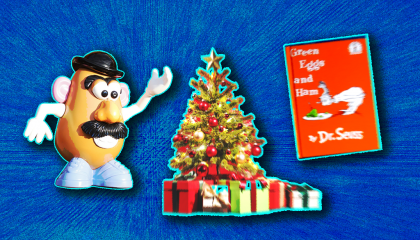 Mr. Potato Head, a Christmas tree, and Dr. Seuss