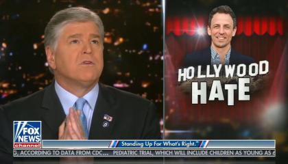 graphic of Seth Meyers with the caption Hollywood Hate
