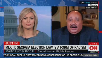 Pamela Brown on left, Martin Luther King Jr. III on right; chyron reads: MLK III: Georgia election law is a form of racism