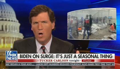 still of Tucker Carlson; photo of detention facility; chyron: Biden on surge: It's just a seasonal thing