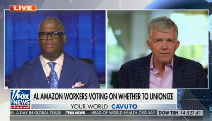 """chyron reads, """"AL AMAZON WORKERS VOTING ON WHETHER TO UNIONIZE"""""""