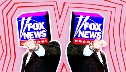 Two Fox News logos pointing