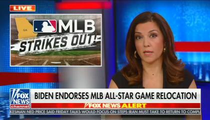 "Rachel Campos-Duffy addresses camera with picture of MLB logo above the words ""strikeout"" in the corner; chyron reads, ""Biden endorses MLB all star game relocation"""
