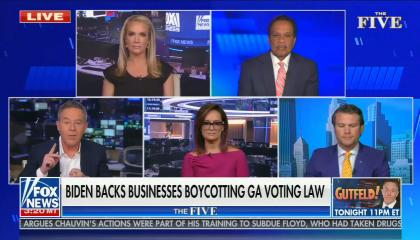 "chyron reads, ""BIDEN BACKS BUSINESSES BOYCOTTING GA VOTING LAW"""
