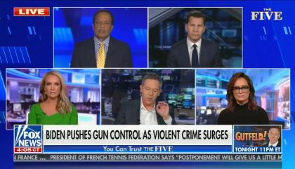 still of Juan Williams, Will Cain, Dana Perino, Greg Gutfeld, Kennedy; chyron: Biden pushes gun control as violent crime surges