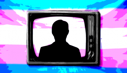 A tv in front of the trans pride flag