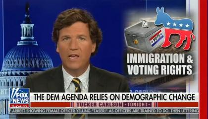 "Tucker Carlson defends his support and promotion of white supremacist ""replacement"" theory: ""Demographic change is the key"""