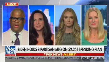 still of Charles Payne, Kaylee McGhee, Alexandra Wilkes, Laura Fink; chyron: Biden holds bipartisan mtg on $2.25T spending plan
