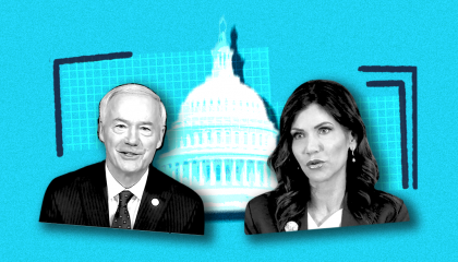 Republican Governors Asa Hutchinson (AR) and Kristi Noem (SD)