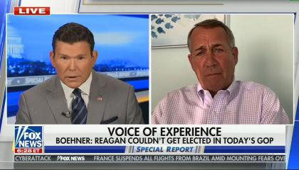 "Bret Baier on left, John Boehner on right; chyron reads: ""VOICE OF EXPERIENCE -- Boehner: Reagan couldn't get elected in today's GOP"""
