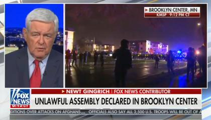 "chyron reads, ""UNLAWFUL ASSEMBLY DECLARED IN BROOKLYN CENTER"""