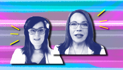 Veronica Ivy and Evelyn Rios Stafford in front of a blue and pink background