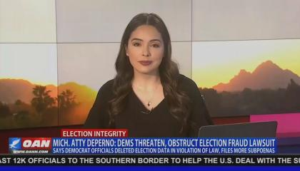 "An OAN anchor against a generic sunrise background, with chyron reading ""Mich. Atty DePerno: Dems Threaten, Obstruct Election Fraud Lawsuit"" with lower chyron reading ""Says Democrat Officials Deleted Election Data In Violation Of Law, Files More Subpoenas"""