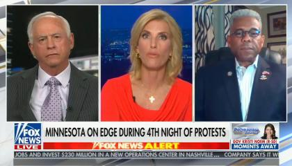 "chyron reads, ""MINNESOTA ON EDGE DURING 4TH NIGHT OF PROTESTS"""