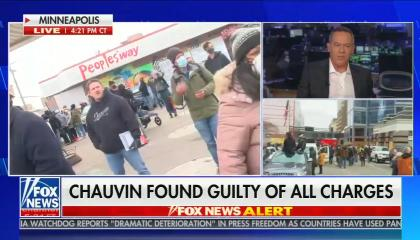 still of Greg Gutfeld; live footage from Minneapolis; chyron: Chauvin found guilty of all charges
