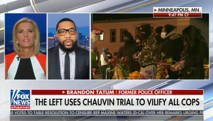chyron reads: The left uses Chauvin trial to vilify all cops
