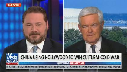 chyron reads: China using Hollywood to win cultural cold war