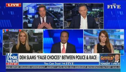 "still of Jesse Watters, Greg Gutfeld, Dana Perino, Juan Williams, Dagen McDowell; chyron: Dem slams ""false choices"" between police & race"