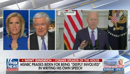 "chyron reads, ""MSNBC PRAISES BIDEN FOR BEING 'DEEPLY INVOLVED' IN WRITING HIS OWN SPEECH"""