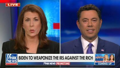 chyron reads: Biden to weaponize the IRS against the rich