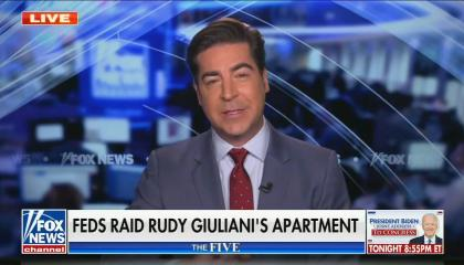 "Jesse Watters addresses camera; chyron reads ""Feds raid Rudy Giuliani's apartment"""