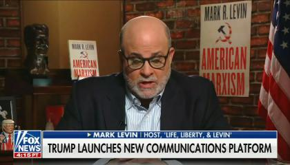 """chyron reads, """"TRUMP LAuNCHES NEW COMMUNICATIONS PLATFORM"""""""