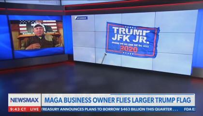 Newsmax hosts local business owner flying a pro-Trump QAnon flag