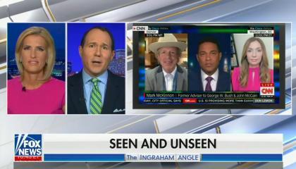 Laura Ingraham and Raymond Arroyo talk as clip of CNN plays in corner