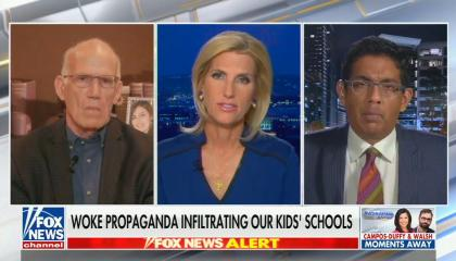 "chyron reads, ""WOKE PROPAGANDA INFILTRATING OUR KIDS' SCHOOLS"""