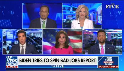 "chyron reads, ""BIDEN TRIES TO SPIN BAD JOBS REPORT"""