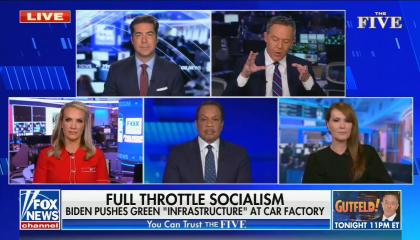 """chyron reads: full throttle socialism Biden pushes green """"infrastructure"""" at car factory"""