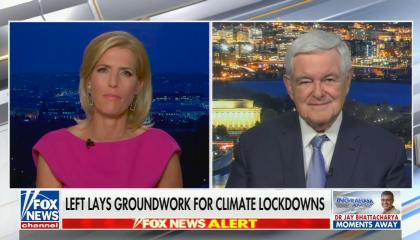 """chyron reads, """"LEFT LAYS GROUNDWORK FOR CLIMATE LOCKDOWNS"""""""