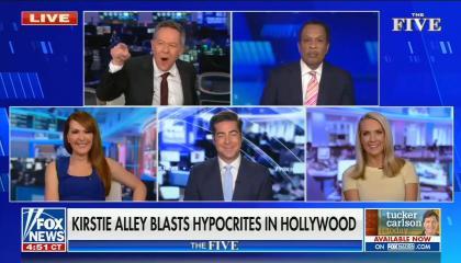 still of Greg Gutfeld, Juan Williams, Dagen McDowell, Jesse Watters, Dana Perino; chyron: Kirstie Alley blasts hypocrites in Hollywood