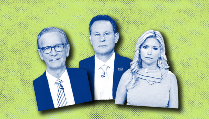 Blue-tinted cutouts of Fox & Friends hosts (from left) Steve Doocy, Brian Kilmeade, and Ainsley Earhardt, against a green background the color of split pea soup..
