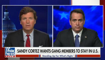 """chyron reads, """"SANDY CORTEZ WANTS GANG MEMBERS TO STAY IN US"""""""