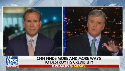 still of Rick Santorum, Sean Hannity; chyron: CNN finds more and more ways to destroy its credibility