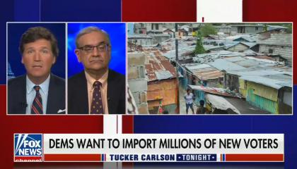 """chyron reads, """"DEMS WANT TO IMPORT MILLIONS OF NEW VOTERS"""""""