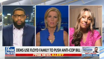 chyron reads: Dems use Floyd family to push anti-cop bill